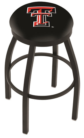 "TTU Red Raiders 30"" L8B2B - Black Wrinkle Texas Tech Swivel Bar Stool with Accent Ring by Holland Bar Stool Company"