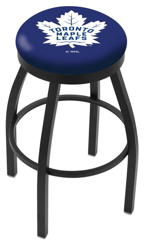 "30"" L8B2B - Black Wrinkle Toronto Maple Leafs Swivel Bar Stool with Accent Ring by Holland Bar Stool Company"