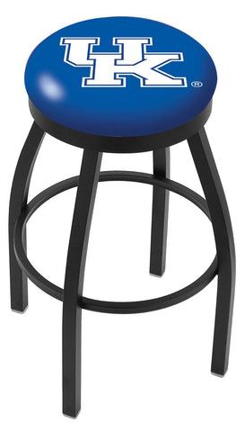 "UK Wildcats 30"" L8B2B - Black Wrinkle Kentucky ""UK"" Swivel Bar Stool with Accent Ring by Holland Bar Stool Company"