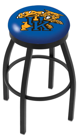 "UK Wildcats 30"" L8B2B - Black Wrinkle Kentucky ""Wildcat"" Swivel Bar Stool with Accent Ring by Holland Bar Stool Company"
