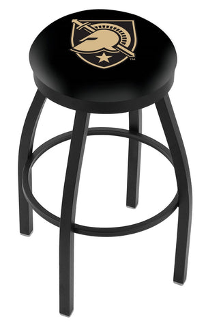 "Army Black Knights 30"" L8B2B - Black Wrinkle US Military Academy (ARMY) Swivel Bar Stool with Accent Ring by Holland Bar Stool Company"