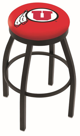 "Utah Utes 30"" L8B2B - Black Wrinkle Utah Swivel Bar Stool with Accent Ring by Holland Bar Stool Company"