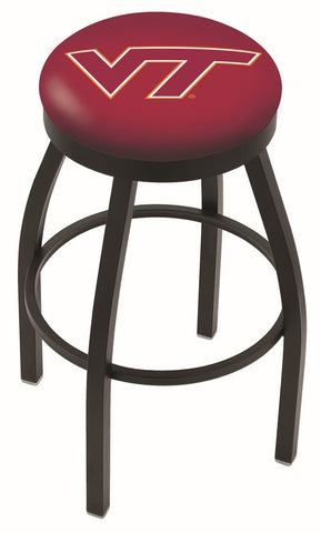 "VT Hokies 30"" L8B2B - Black Wrinkle Virginia Tech Swivel Bar Stool with Accent Ring by Holland Bar Stool Company"