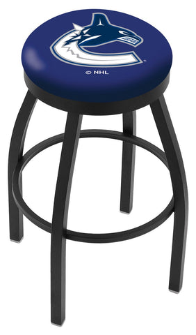 "30"" L8B2B - Black Wrinkle Vancouver Canucks Swivel Bar Stool with Accent Ring by Holland Bar Stool Company"