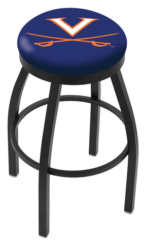"UVA Cavaliers 30"" L8B2B - Black Wrinkle Virginia Swivel Bar Stool with Accent Ring by Holland Bar Stool Company"