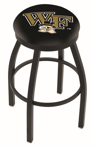 "Wake Forest Demon Deacons 30"" L8B2B - Black Wrinkle Wake Forest Swivel Bar Stool with Accent Ring by Holland Bar Stool Company"