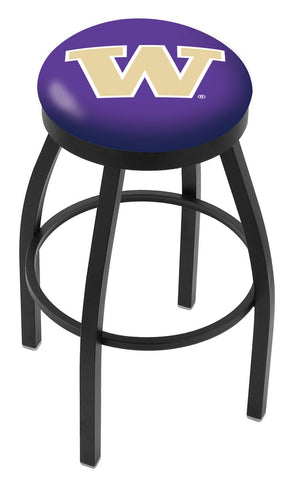 "UW Huskies 30"" L8B2B - Black Wrinkle Washington Swivel Bar Stool with Accent Ring by Holland Bar Stool Company"