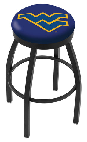 "WVU Mountaineers 30"" L8B2B - Black Wrinkle West Virginia Swivel Bar Stool with Accent Ring by Holland Bar Stool Company"