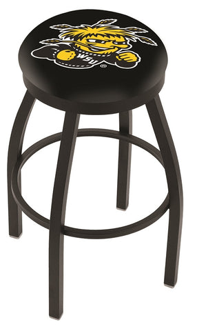 "Wichita State  Shockers 30"" L8B2B - Black Wrinkle Wichita State Swivel Bar Stool with Accent Ring by Holland Bar Stool Company"