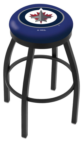 "30"" L8B2B - Black Wrinkle Winnipeg Jets Swivel Bar Stool with Accent Ring by Holland Bar Stool Company"