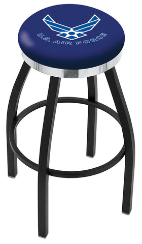 "30"" L8B2C - Black Wrinkle U.S. Air Force Swivel Bar Stool with Chrome Accent Ring by Holland Bar Stool Company"