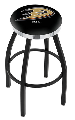 "30"" L8B2C - Black Wrinkle Anaheim Ducks Swivel Bar Stool with Chrome Accent Ring by Holland Bar Stool Company"