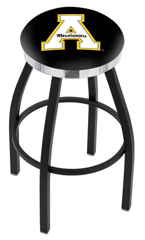 "ASU Mountaineers 30"" L8B2C - Black Wrinkle Appalachian State Swivel Bar Stool with Chrome Accent Ring by Holland Bar Stool Company"