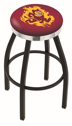 "ASU Sun Devils 30"" L8B2C - Black Wrinkle Arizona State Swivel Bar Stool with Chrome Accent Ring by Holland Bar Stool Company"