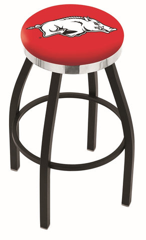 "Arkansas Razorbacks 30"" L8B2C - Black Wrinkle Arkansas Swivel Bar Stool with Chrome Accent Ring by Holland Bar Stool Company"