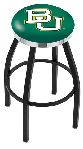 "Baylor  Bears 30"" L8B2C - Black Wrinkle Baylor Swivel Bar Stool with Chrome Accent Ring by Holland Bar Stool Company"
