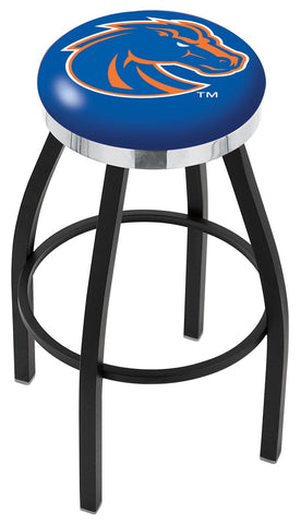 "BSU Broncos 30"" L8B2C - Black Wrinkle Boise State Swivel Bar Stool with Chrome Accent Ring by Holland Bar Stool Company"