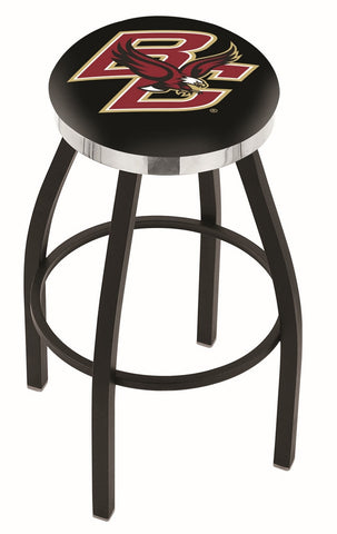 "BC Eagles 30"" L8B2C - Black Wrinkle Boston College Swivel Bar Stool with Chrome Accent Ring by Holland Bar Stool Company"