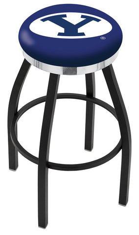 "BYU Cougars 30"" L8B2C - Black Wrinkle Brigham Young Swivel Bar Stool with Chrome Accent Ring by Holland Bar Stool Company"