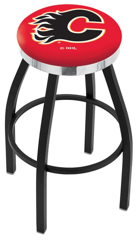 "30"" L8B2C - Black Wrinkle Calgary Flames Swivel Bar Stool with Chrome Accent Ring by Holland Bar Stool Company"