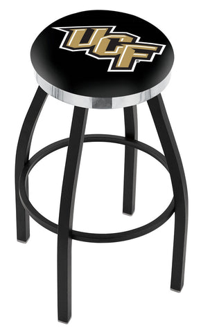 "UCF Knights 30"" L8B2C - Black Wrinkle Central Florida Swivel Bar Stool with Chrome Accent Ring by Holland Bar Stool Company"