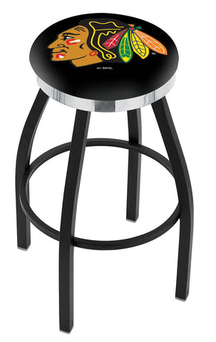 "30"" L8B2C - Black Wrinkle Chicago Blackhawks Swivel Bar Stool with Chrome Accent Ring by Holland Bar Stool Company"
