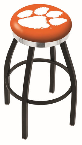 "Clemson  Tigers 30"" L8B2C - Black Wrinkle Clemson Swivel Bar Stool with Chrome Accent Ring by Holland Bar Stool Company"