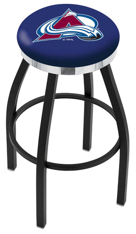"30"" L8B2C - Black Wrinkle Colorado Avalanche Swivel Bar Stool with Chrome Accent Ring by Holland Bar Stool Company"