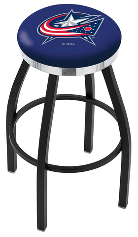 "30"" L8B2C - Black Wrinkle Columbus Blue Jackets Swivel Bar Stool with Chrome Accent Ring by Holland Bar Stool Company"