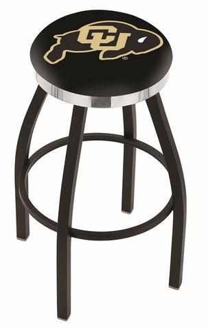 "Colorado Buffaloes 30"" L8B2C - Black Wrinkle Colorado Swivel Bar Stool with Chrome Accent Ring by Holland Bar Stool Company"