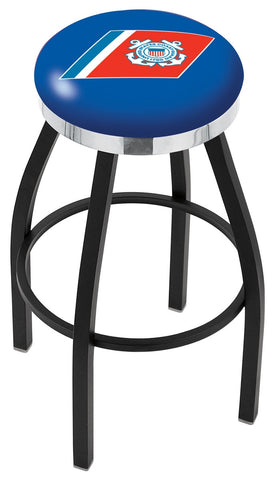 "30"" L8B2C - Black Wrinkle U.S. Coast Guard Swivel Bar Stool with Chrome Accent Ring by Holland Bar Stool Company"