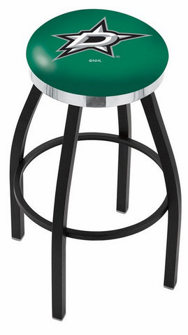 "30"" L8B2C - Black Wrinkle Dallas Stars Swivel Bar Stool with Chrome Accent Ring by Holland Bar Stool Company"