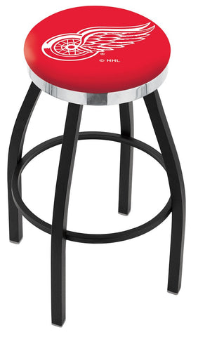 "30"" L8B2C - Black Wrinkle Detroit Red Wings Swivel Bar Stool with Chrome Accent Ring by Holland Bar Stool Company"