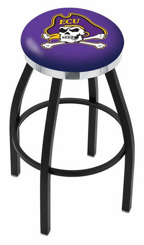 "ECU Pirates 30"" L8B2C - Black Wrinkle East Carolina Swivel Bar Stool with Chrome Accent Ring by Holland Bar Stool Company"