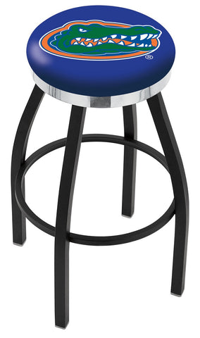"UF Gators 30"" L8B2C - Black Wrinkle Florida Swivel Bar Stool with Chrome Accent Ring by Holland Bar Stool Company"
