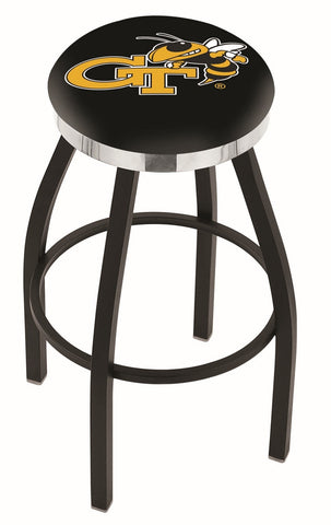 "Georgia Tech Yellow Jackets 30"" L8B2C - Black Wrinkle Georgia Tech Swivel Bar Stool with Chrome Accent Ring by Holland Bar Stool Company"
