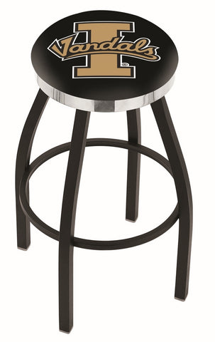 "Idaho Vandals 30"" L8B2C - Black Wrinkle Idaho Swivel Bar Stool with Chrome Accent Ring by Holland Bar Stool Company"
