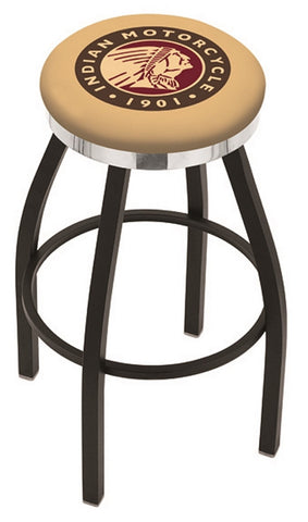 "30"" L8B2C - Black Wrinkle Indian Motorcycle Swivel Bar Stool with Chrome Accent Ring by Holland Bar Stool Company"