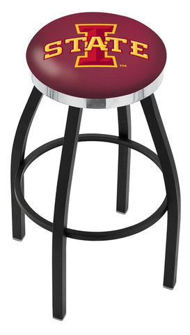 "ISU Cyclones 30"" L8B2C - Black Wrinkle Iowa State Swivel Bar Stool with Chrome Accent Ring by Holland Bar Stool Company"
