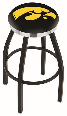 "Iowa Hawkeyes 30"" L8B2C - Black Wrinkle Iowa Swivel Bar Stool with Chrome Accent Ring by Holland Bar Stool Company"