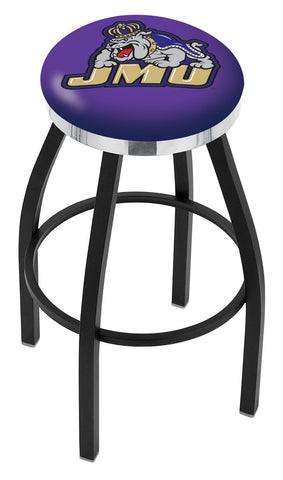 "JMU Dukes 30"" L8B2C - Black Wrinkle James Madison Swivel Bar Stool with Chrome Accent Ring by Holland Bar Stool Company"