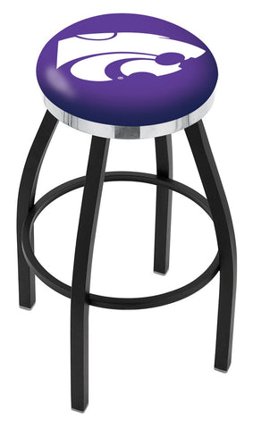"KSU Wildcats 30"" L8B2C - Black Wrinkle Kansas State Swivel Bar Stool with Chrome Accent Ring by Holland Bar Stool Company"