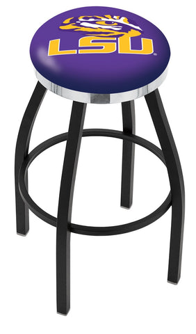 "LSU Tigers 30"" L8B2C - Black Wrinkle Louisiana State Swivel Bar Stool with Chrome Accent Ring by Holland Bar Stool Company"