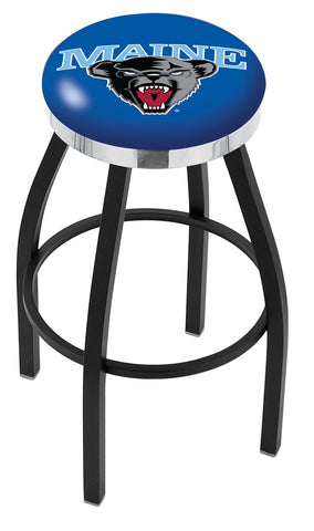 "Maine Black Bears 30"" L8B2C - Black Wrinkle Maine Swivel Bar Stool with Chrome Accent Ring by Holland Bar Stool Company"