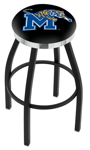 "Memphis Tigers 30"" L8B2C - Black Wrinkle Memphis Swivel Bar Stool with Chrome Accent Ring by Holland Bar Stool Company"