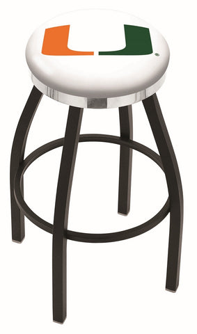 "Miami Hurricanes 30"" L8B2C - Black Wrinkle Miami (FL) Swivel Bar Stool with Chrome Accent Ring by Holland Bar Stool Company"