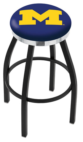 "Michigan Wolverines 30"" L8B2C - Black Wrinkle Michigan Swivel Bar Stool with Chrome Accent Ring by Holland Bar Stool Company"