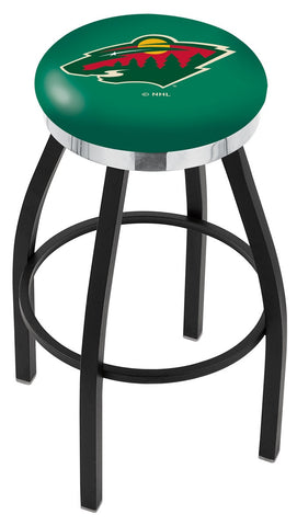 "30"" L8B2C - Black Wrinkle Minnesota Wild Swivel Bar Stool with Chrome Accent Ring by Holland Bar Stool Company"