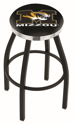 "Mizzou Tigers 30"" L8B2C - Black Wrinkle Missouri Swivel Bar Stool with Chrome Accent Ring by Holland Bar Stool Company"