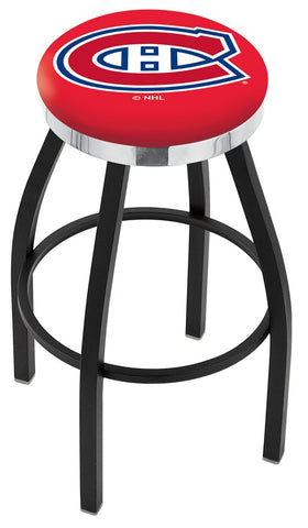 "30"" L8B2C - Black Wrinkle Montreal Canadiens Swivel Bar Stool with Chrome Accent Ring by Holland Bar Stool Company"